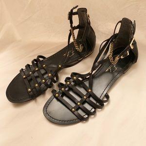 MARC FISHER Black & Gold Sandals 7.5